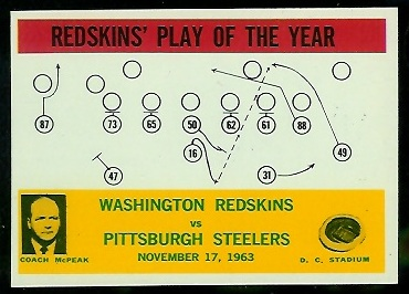 1964 Philadelphia #196 - Redskins Play of the Year - nm