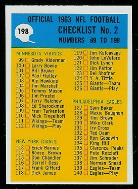 1964 Philadelphia #198 - Checklist 2 - nm oc