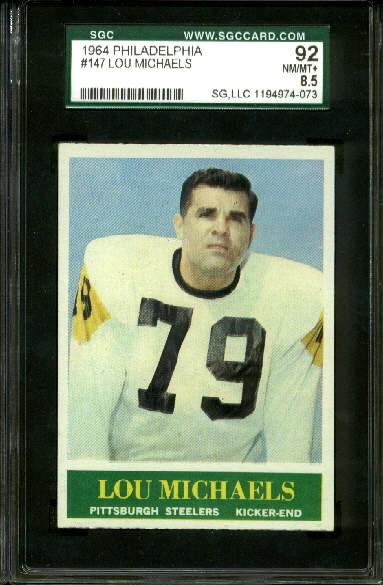 1964 Philadelphia #147 - Lou Michaels - SGC 92