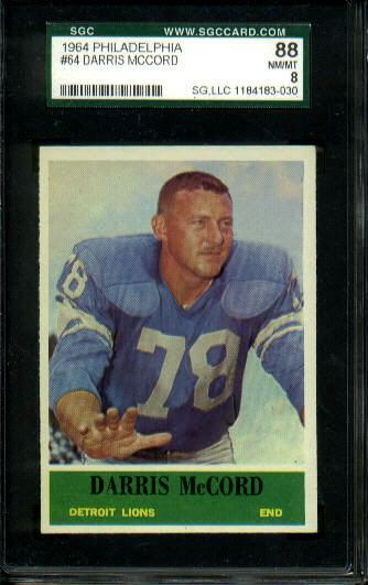 1964 Philadelphia #64 - Darris McCord - SGC 88