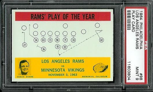 1964 Philadelphia #98 - Rams Play of the Year - PSA 9