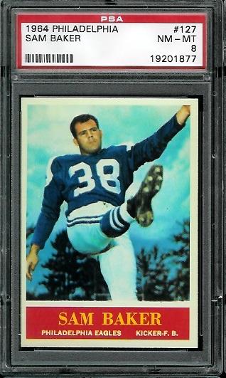 1964 Philadelphia #127 - Sam Baker - PSA 8