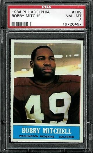 1964 Philadelphia #189 - Bobby Mitchell - PSA 8