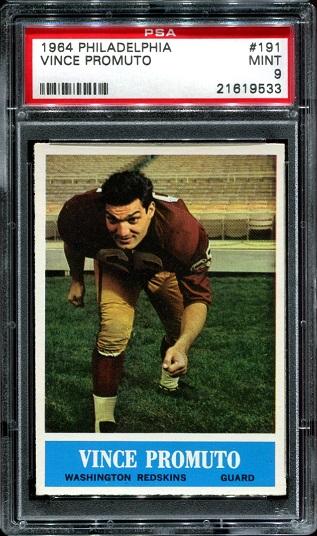 1964 Philadelphia #191 - Vince Promuto - PSA 9