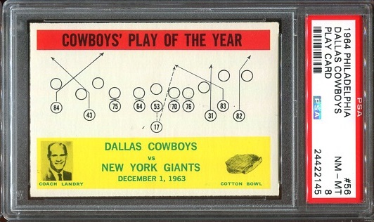 1964 Philadelphia #56 - Cowboys Play of the Year - PSA 8