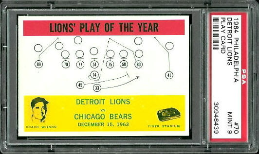 1964 Philadelphia #70 - Lions Play of the Year - PSA 9