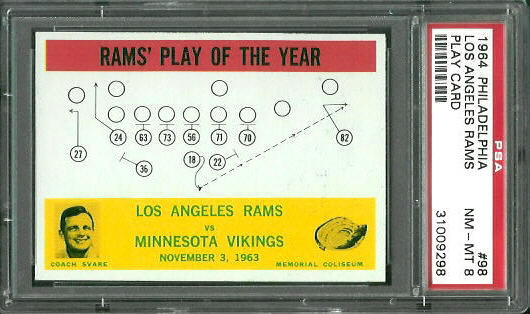 1964 Philadelphia #98 - Rams Play of the Year - PSA 8