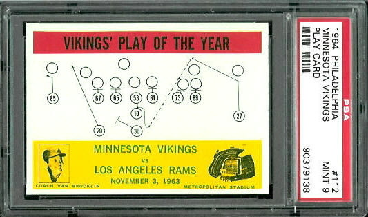 1964 Philadelphia #112 - Vikings Play of the Year - PSA 9
