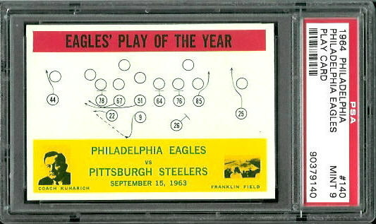 1964 Philadelphia #140 - Eagles Play of the Year - PSA 9