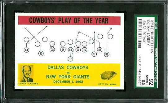 1964 Philadelphia #56 - Cowboys Play of the Year - SGC 92