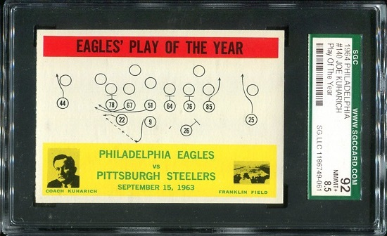 1964 Philadelphia #140 - Eagles Play of the Year - SGC 92