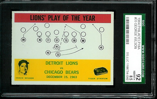 1964 Philadelphia #70 - Lions Play of the Year - SGC 92