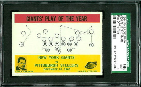 1964 Philadelphia #126 - Giants Play of the Year - SGC 96