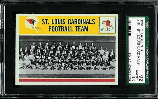 1964 Philadelphia #181 - St. Louis Cardinals Team - SGC 92