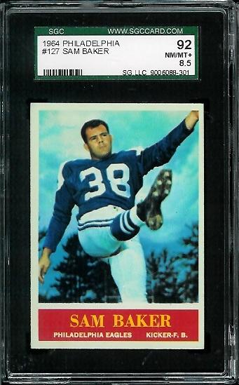 1964 Philadelphia #127 - Sam Baker - SGC 92