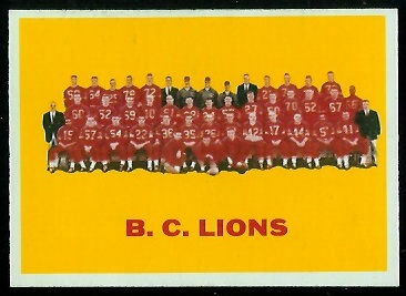 1964 Topps CFL #10 - B.C. Lions Team - nm