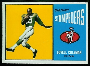 1964 Topps CFL #11 - Lovell Coleman - nm+