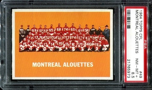 1964 Topps CFL #49 - Montreal Alouettes Team - PSA 8.5