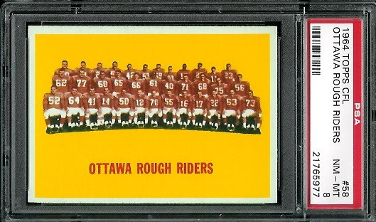 1964 Topps CFL #58 - Ottawa Rough Riders Team - PSA 8
