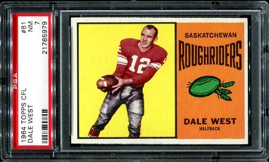 1964 Topps CFL #61 - Dale West - PSA 7