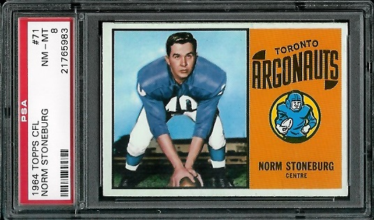 1964 Topps CFL #71 - Norm Stoneburgh - PSA 8