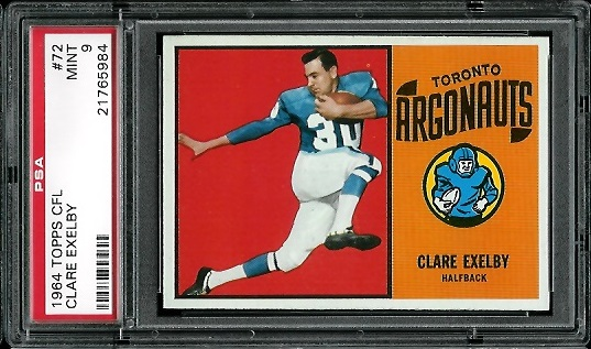 1964 Topps CFL #72 - Clare Exelby - PSA 9