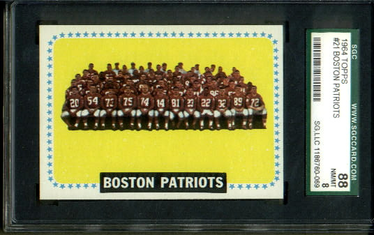 1964 Topps #21 - Boston Patriots Team - SGC 88