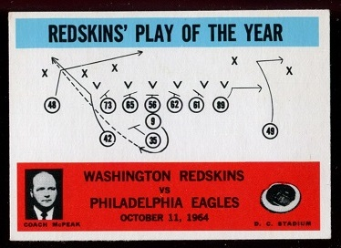 1965 Philadelphia #196 - Redskins Play of the Year - exmt+