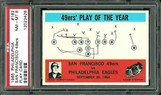 1965 Philadelphia #182 - 49ers Play of the Year - PSA 8