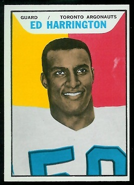 1965 Topps CFL #105 - Ed Harrington - exmt