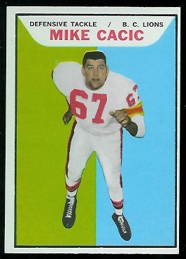 1965 Topps CFL #3 - Mike Cacic - exmt