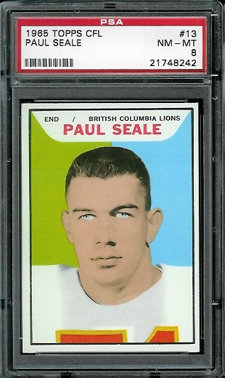 1965 Topps CFL #13 - Paul Seale - PSA 8