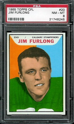 1965 Topps CFL #20 - Jim Furlong - PSA 8