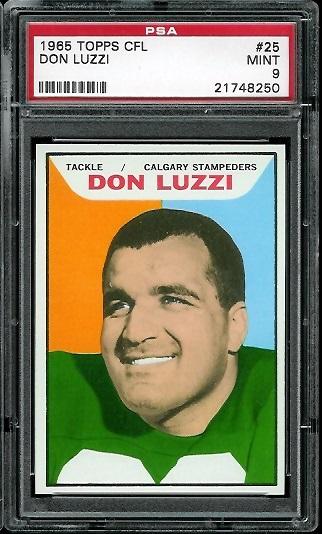 1965 Topps CFL #25 - Don Luzzi - PSA 9