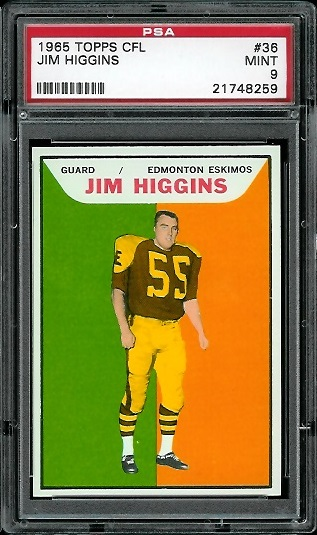 1965 Topps CFL #36 - Jim Higgins - PSA 9
