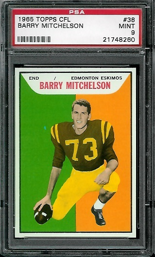 1965 Topps CFL #38 - Barry Mitchelson - PSA 9