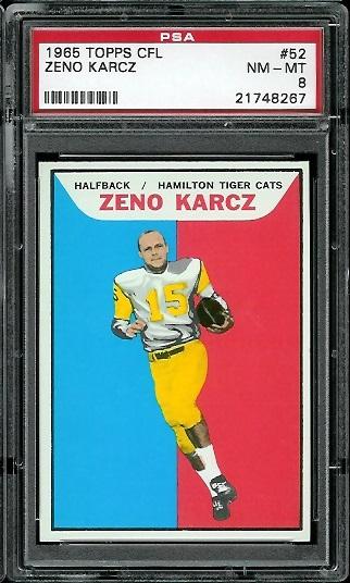1965 Topps CFL #52 - Zeno Karcz - PSA 8