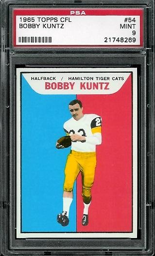 1965 Topps CFL #54 - Bobby Kuntz - PSA 9