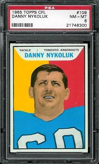 1965 Topps CFL #109 - Danny Nykoluk - PSA 8