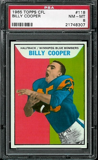 1965 Topps CFL #118 - Billy Cooper - PSA 8