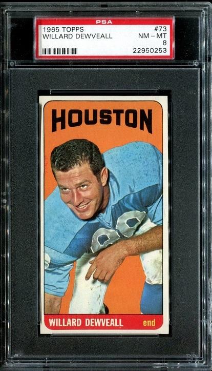 1965 Topps #73 - Willard Dewveall - PSA 8