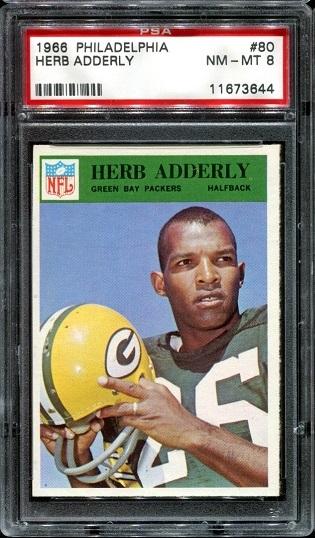 1966 Philadelphia #80 - Herb Adderley - PSA 8