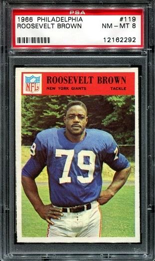 1966 Philadelphia #119 - Roosevelt Brown - PSA 8