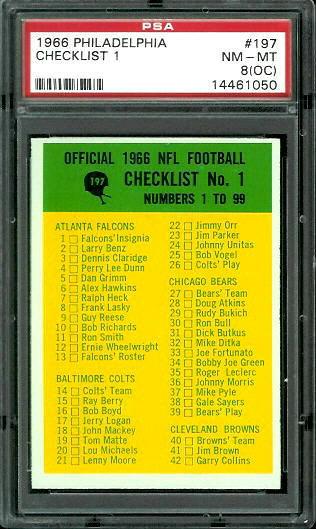 1966 Philadelphia #197 - Checklist 1 - PSA 8 oc