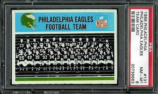 1966 Philadelphia #131 - Philadelphia Eagles Team - PSA 8