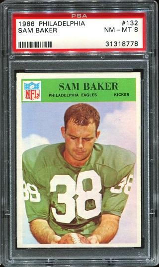 1966 Philadelphia #132 - Sam Baker - PSA 8