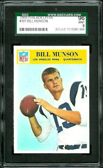 1966 Philadelphia #101 - Bill Munson - SGC 96