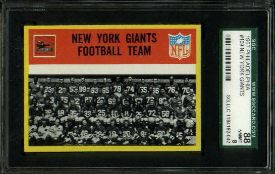 1967 Philadelphia #109 - New York Giants Team - SGC 88
