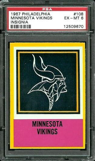1967 Philadelphia #108 - Vikings Logo - PSA 6
