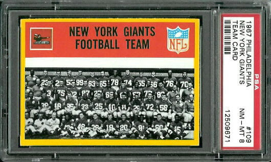 1967 Philadelphia #109 - New York Giants Team - PSA 8